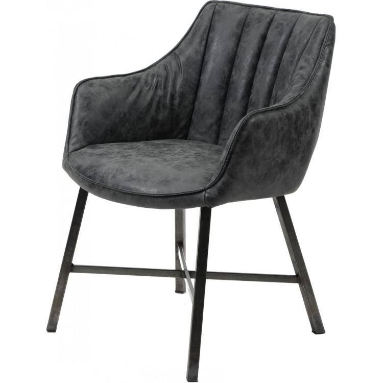 Chaise vintage en PU avec piètement en acier inoxydable (lot de 2) Laura