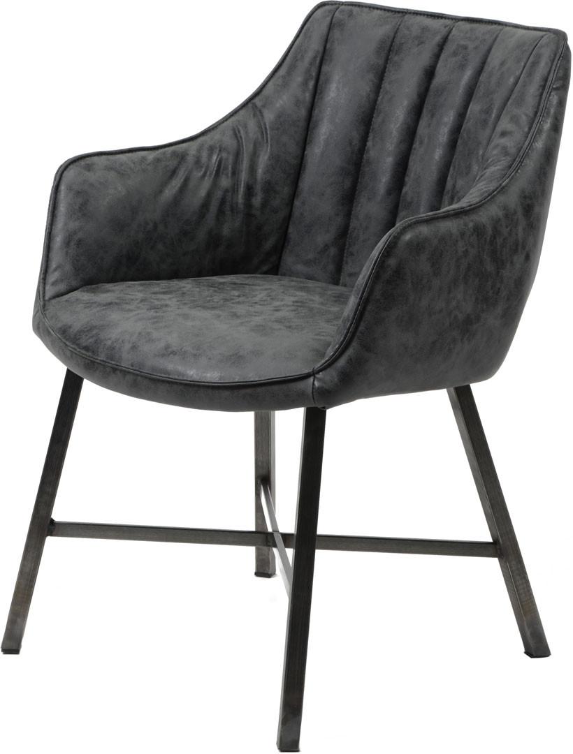 Chaise vintage en PU avec piétement en acier inoxydable (lot de 2) Laura
