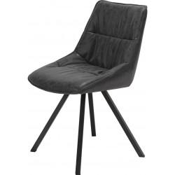 Chaise vintage en PU avec piètement en acier inoxydable (lot de 4) Anais