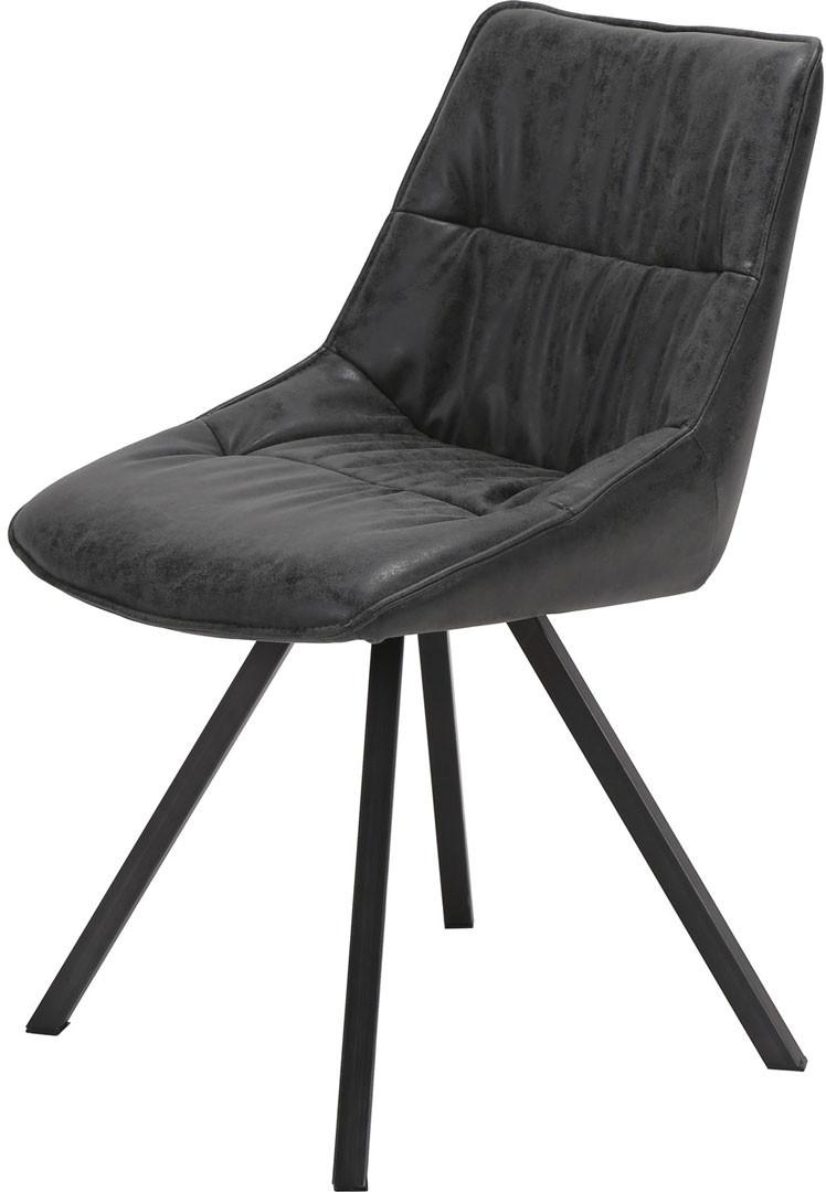 Chaise vintage en PU avec piétement en acier inoxydable (lot de 4) Anais