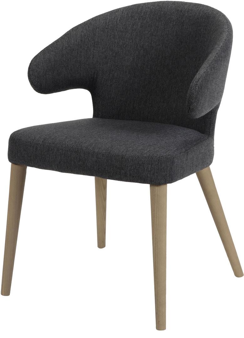 Lot de 2 chaises design en tissu avec piétement en bois Marin