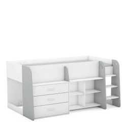 Lit enfant combiné contemporain blanc mat/gris Dolly