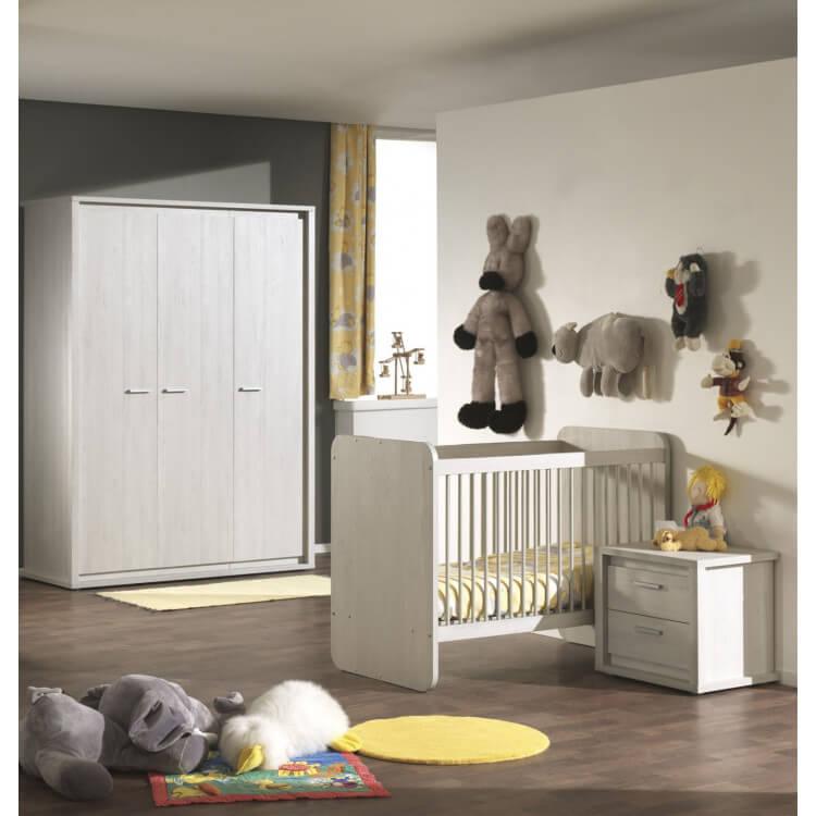 Chambre bébé contemporaine chêne gris NOA