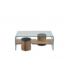 Table basse design verre et bois Luxor