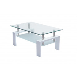 Table basse design verre et bois blanc Carlie