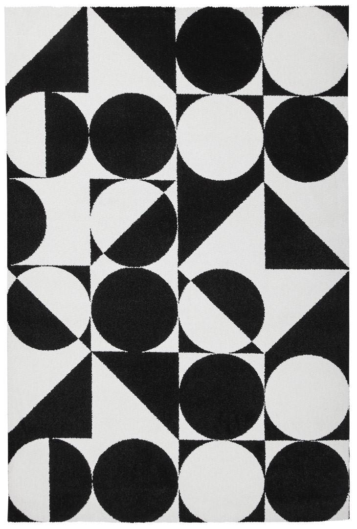 Tapis géométrique noir et blanc rectangle design Metrix
