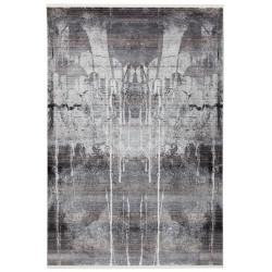 Tapis tissé argenté design en polyester Vince
