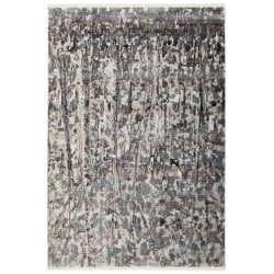 Tapis polyester rectangle argenté design Ben