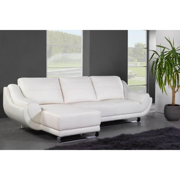 Canapé d'angle fixe cuir design ARMOR