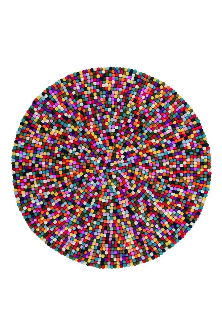 Tapis rond en laine feutrée fait main multicolore Chicago