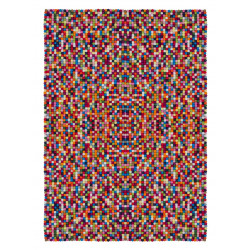 Tapis rectangle en laine feutrée fait main multicolore Chicago