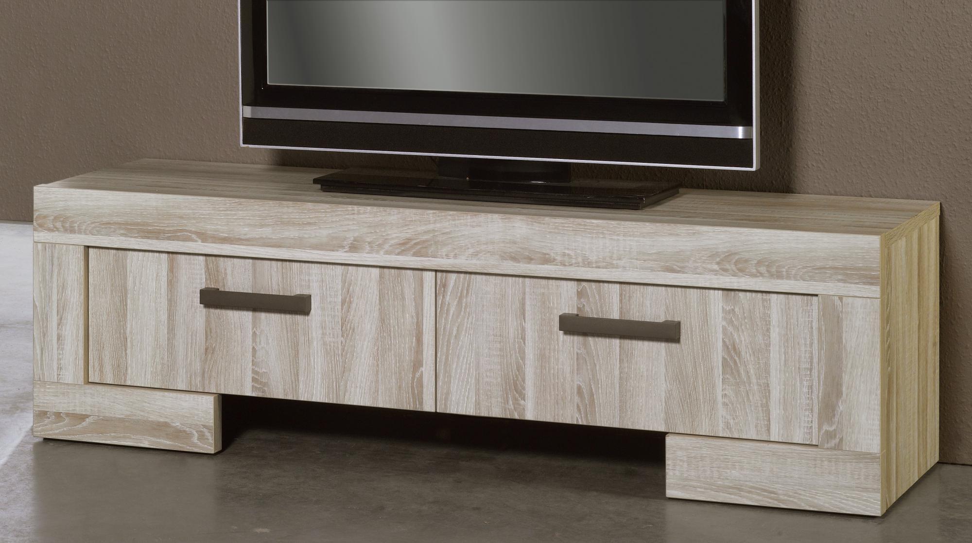 Meuble TV contemporain 2 tiroirs chêne clair Sydney