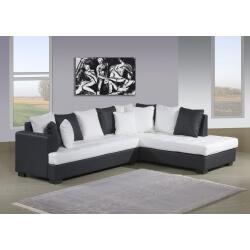canapé d'angle pas cher blanc et noir