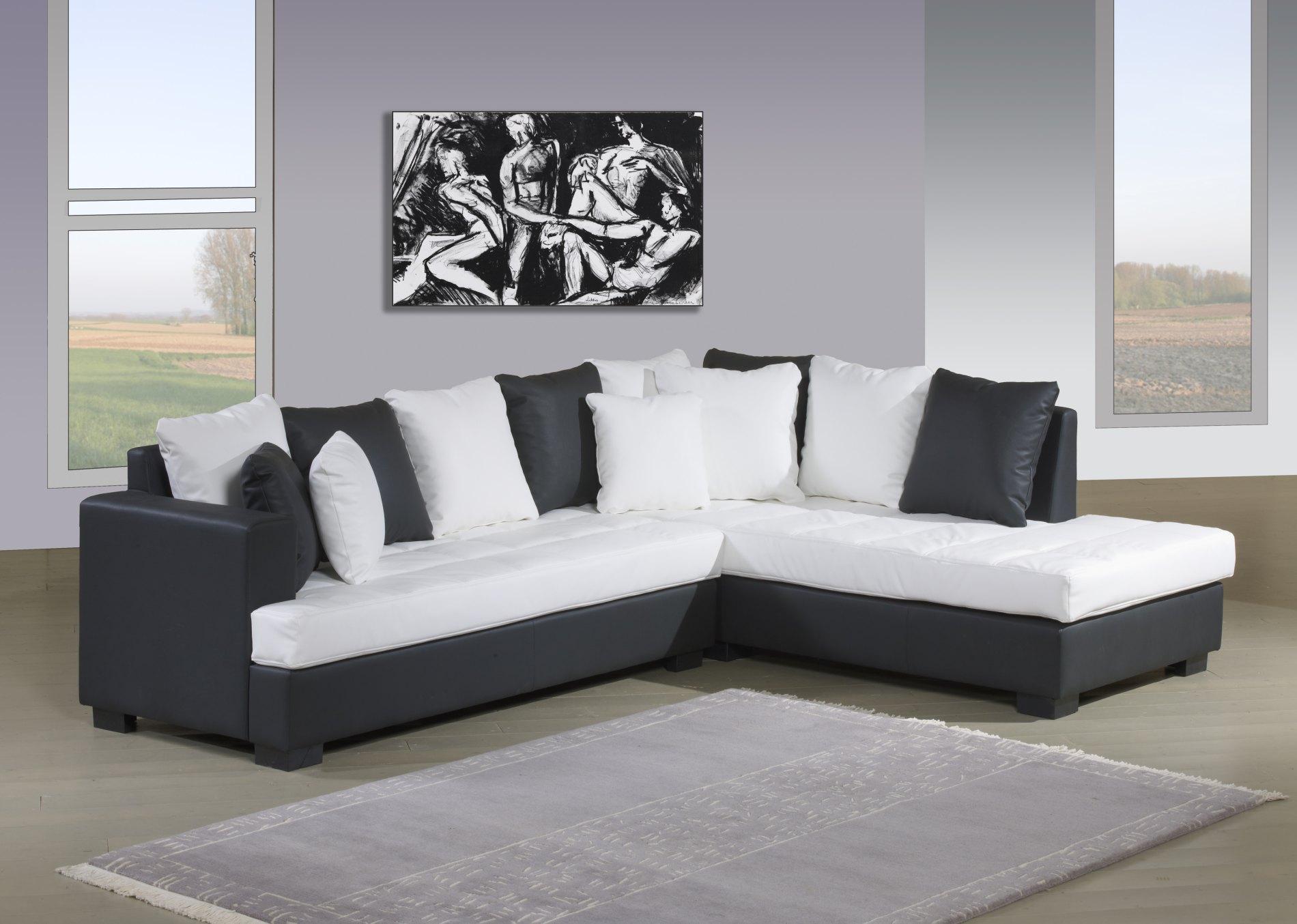 Canapé d'angle GENOA2 blanc/noir