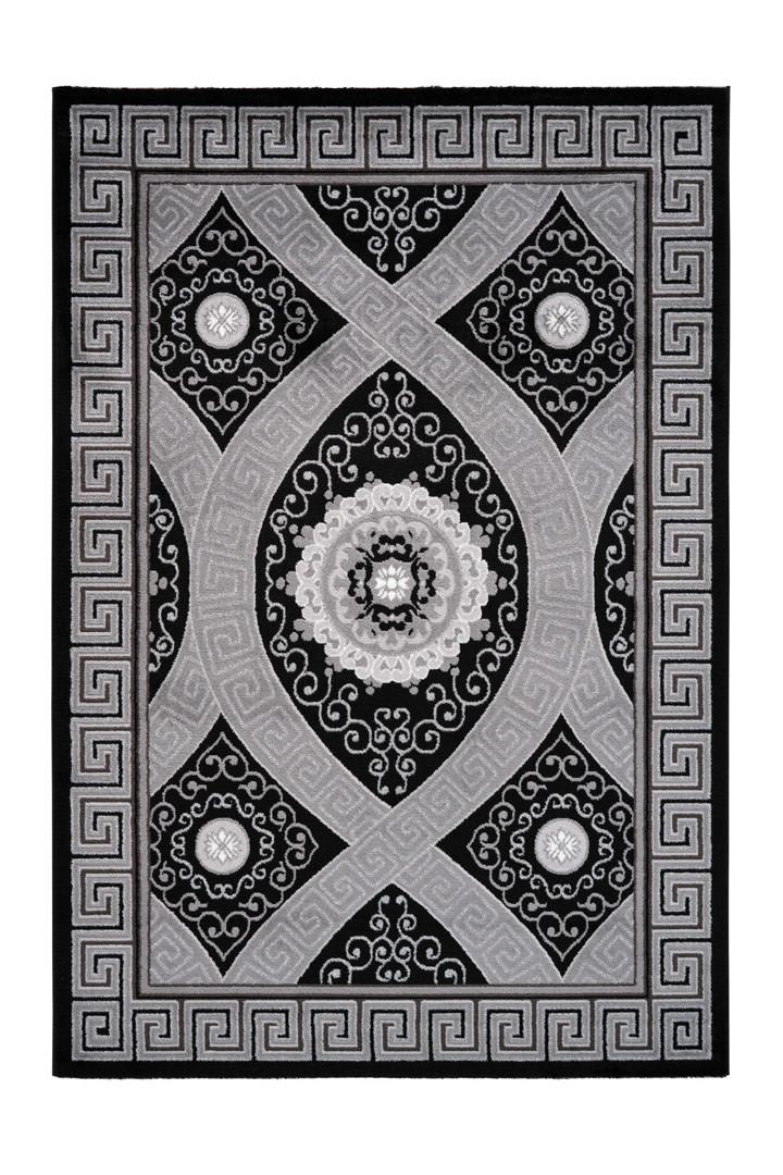 Tapis brillant à courtes mèches baroque noir Kiman