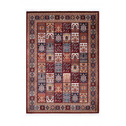 Tapis style oriental rouge avec franges Nain