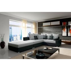 Canapé d'angle contemporain convertible et réversible noir/gris Joshua II