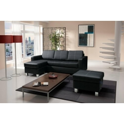 canapé angle gauche noir design
