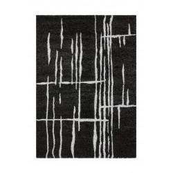 Tapis design pour salon noir à mèches courtes Turin