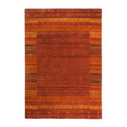 Tapis ethnique noué main en laine doux rouge Himalaya