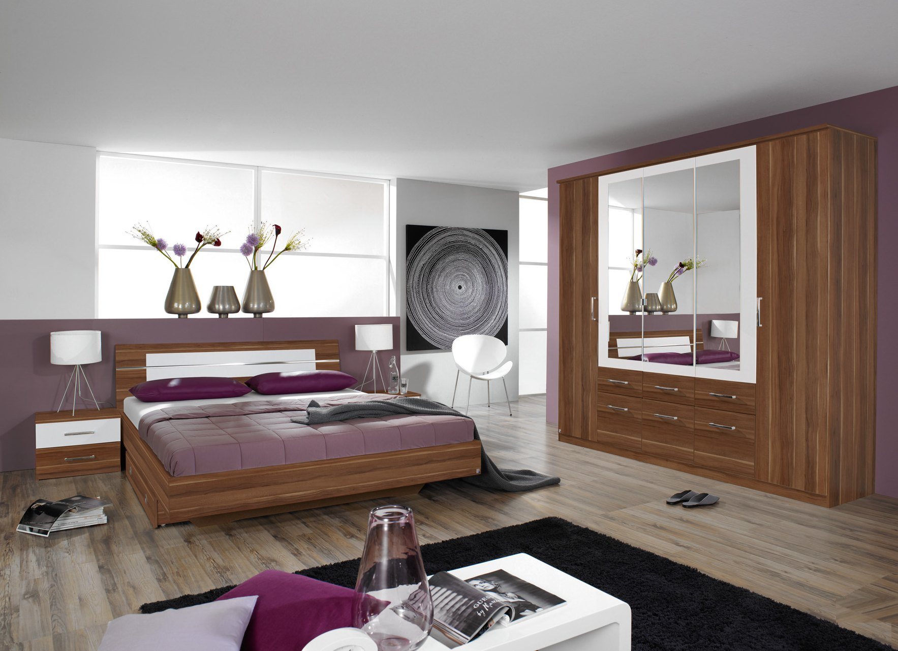 Chambre adulte contemporaine coloris prunier Bruna