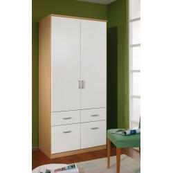 Armoire adulte contemporaine coloris blanc/hêtre Brema II