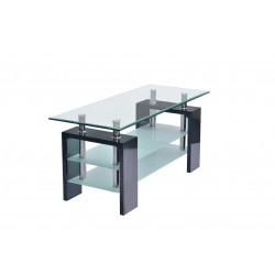 Table basse design verre et bois noir brillant Mario