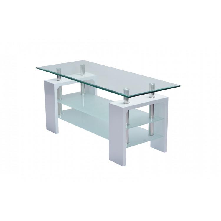 Table Basse Design Verre Et Bois Blanc Brillant Mario Matelpro