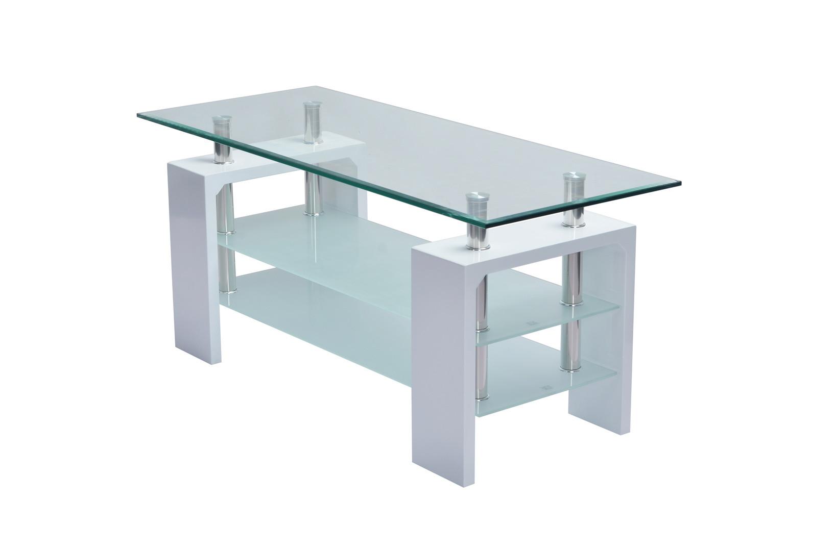 Table basse design verre et bois blanc brillant Mario