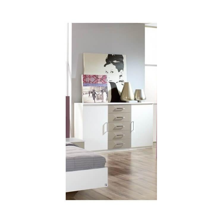 Commode adulte contemporaine 2 portes/5 tiroirs coloris blanc/gris Carla