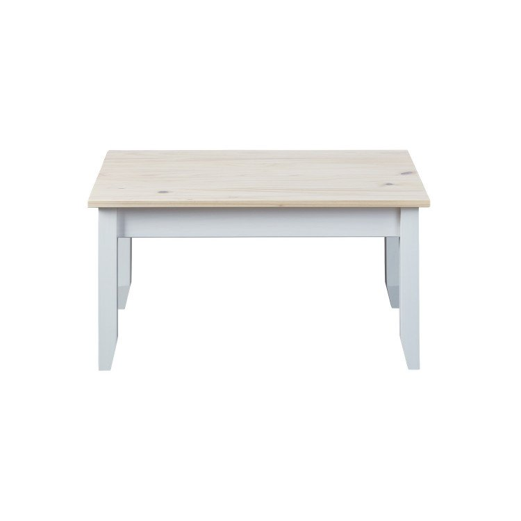 Table basse contemporaine en pin massif blanc Esther