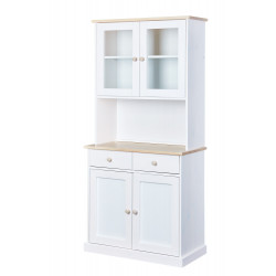Vaisselier contemporain en pin massif blanc Esther