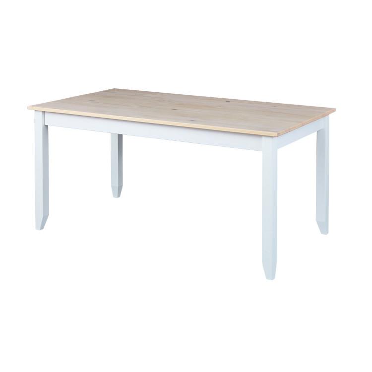 Table de cuisine contemporaine en pin massif blanc Esther I