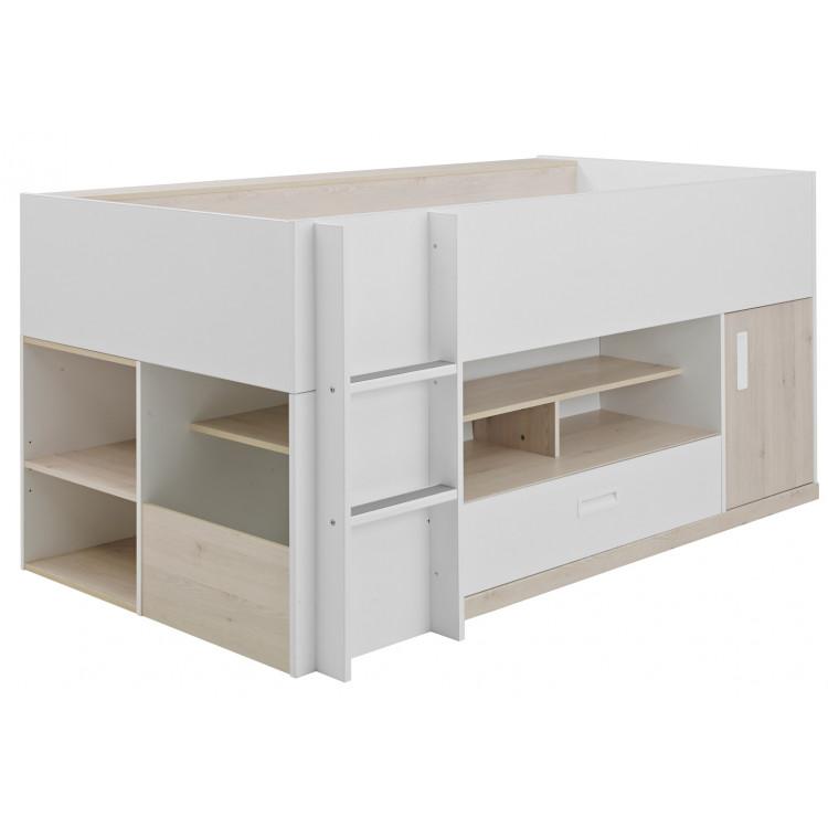 Lit compact enfant contemporain blanc/pin blanchi Opus