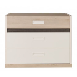 Commode enfant contemporaine blanche/pin blanchi Opus