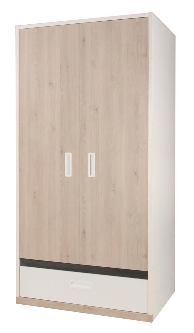 Armoire enfant contemporaine 2 portes blanche/pin blanchi Opus