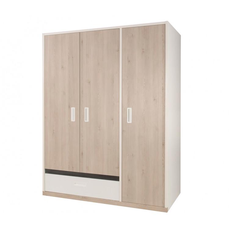 Armoire enfant contemporaine 3 portes blanche/pin blanchi Opus