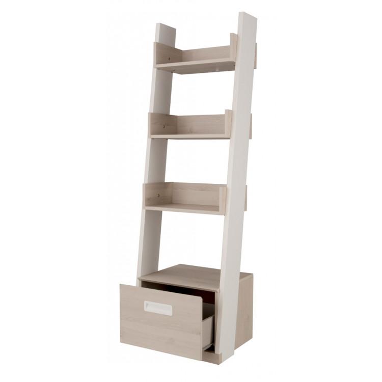 Bibliothèque contemporaine blanche/pin blanchi Opus
