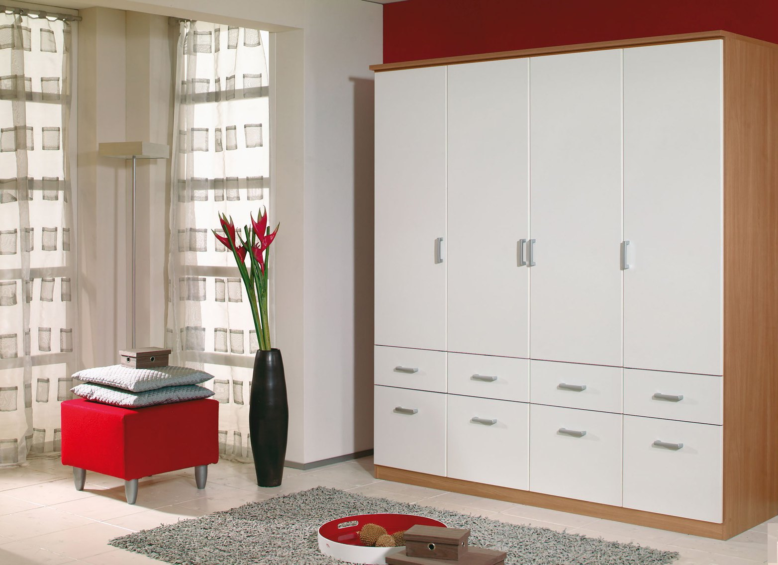 Armoire 4 portes & 8 tiroirs LAETITIA III