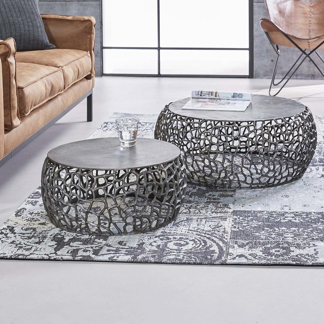 Ensemble contemporain de 2 tables basses de salon en métal noir Jean