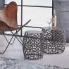 Ensemble contemporain de 2 tables d'appoint en aluminium et nickel noir Henri