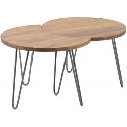 Ensemble de 2 tables basses vintage amovibles en bois massif Justin