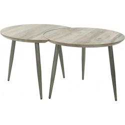Ensemble de 2 tables basses vintage en bois foncé Hugo
