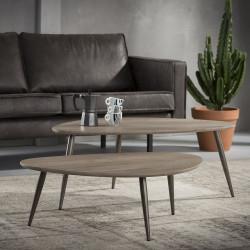 Ensemble de 2 tables basses vintage en bois foncé Raphael
