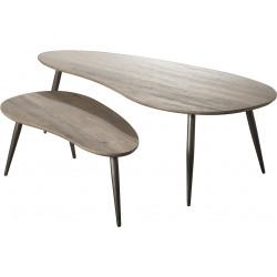 Ensemble de 2 tables basses vintage en bois foncé Zoé
