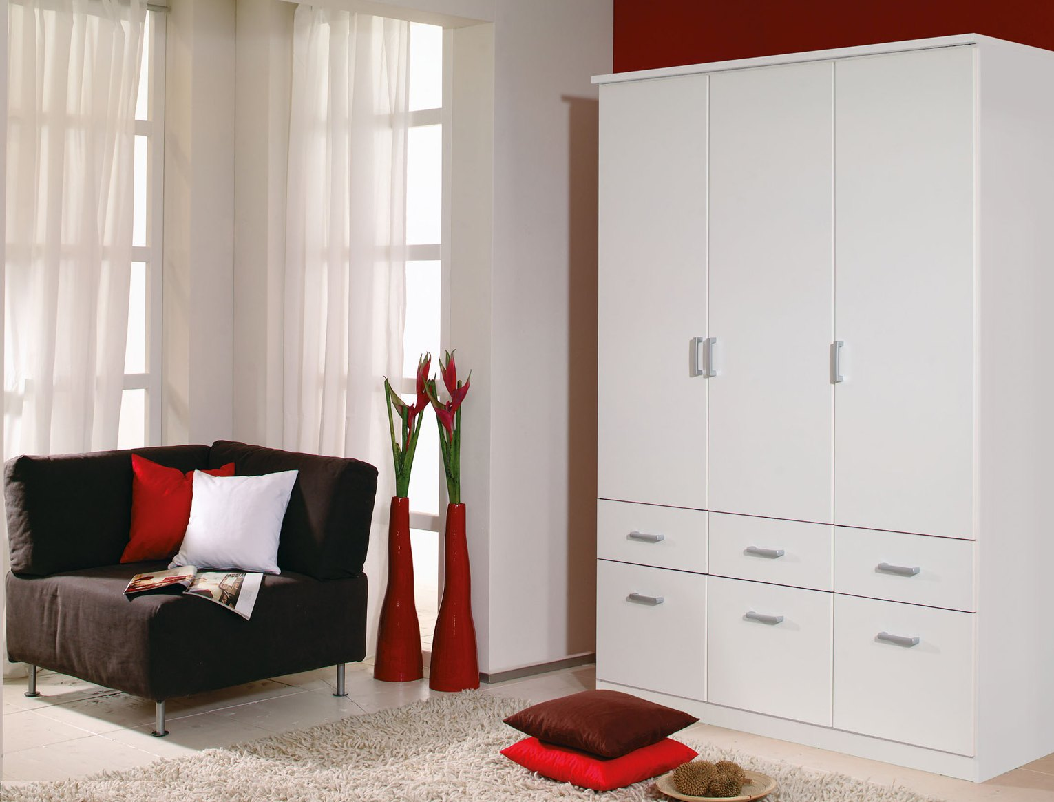 Armoire contemporaine blanche 136 cm Epsylon I