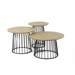 Ensemble de 3 tables basses contemporaines en bois et métal Athénaïs