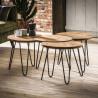 Ensemble de 4 tables basses vintage amovibles en bois massif Justine