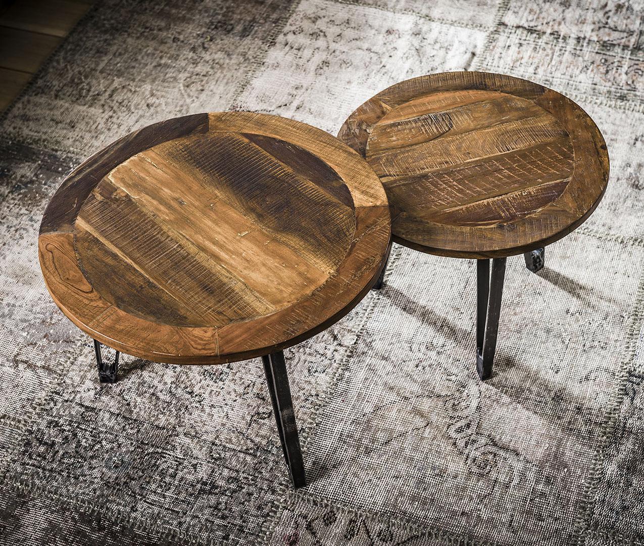 Ensemble de tables basses industrielles en bois et piétement en acier Blandine