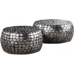 Ensemble de tables basses rondes contemporaines en métal Arsène